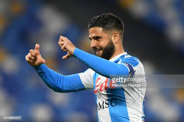 Lorenzo Insigne of SSC Napoli celebrates after scoring their sides first goal from the penalty spot during the Serie A match between SSC Napoli and...