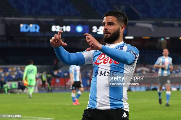 Lorenzo Insigne of SSC Napoli celebrates after scoring their sides third goal during the Serie A match between SSC Napoli and SS Lazio at Stadio...