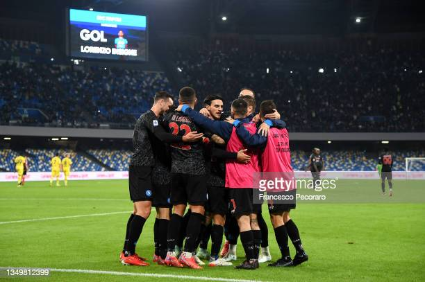 Lorenzo Insigne of SSC Napoli celebrates after scoring their side's third goal with team mates during the Serie A match between SSC Napoli and...