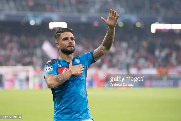 Lorenzo Insigne of SSC Napoli celebrates after the champions league group E match between FC Salzburg and SSC Napoli at Salzburg Stadion on October...