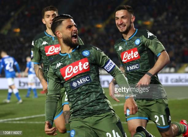 Lorenzo Insigne of SSC Napoli celebrates his goal during the Serie A match between Brescia Calcio and SSC Napoli at Stadio Mario Rigamonti on...