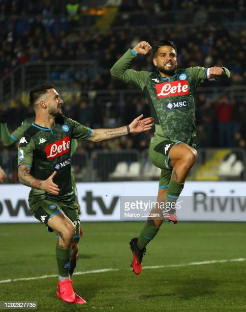 Lorenzo Insigne of SSC Napoli celebrates his goal with his teammate Matteo Politano during the Serie A match between Brescia Calcio and SSC Napoli at...