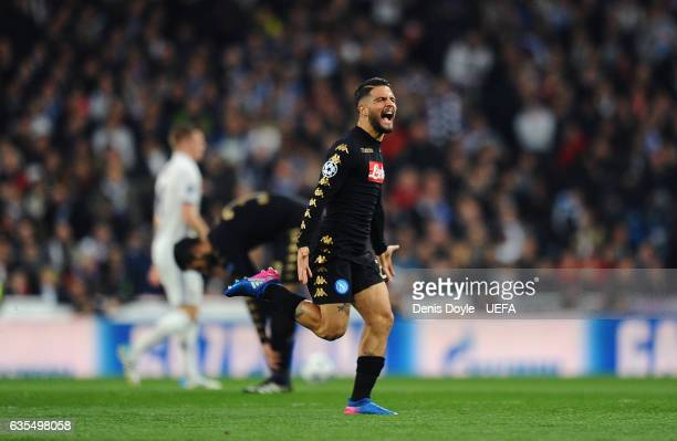 Lorenzo Insigne of SSC Napoli celebrates his team's1st goal during the UEFA Champions League Round of 16 first leg match between Real Madrid CF and...