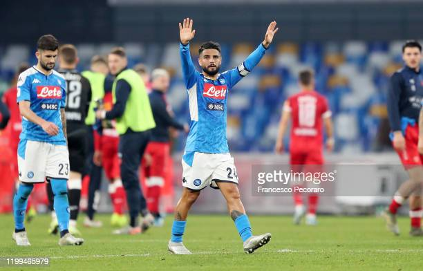 Lorenzo Insigne of SSC Napoli celebrates the victory after the Coppa Italia match between SSC Napoli and Perugia on January 14, 2020 in Naples, Italy.