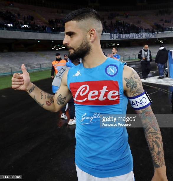 Lorenzo Insigne of SSC Napoli celebrates the victory after the Serie A match between SSC Napoli and Cagliari at Stadio San Paolo on May 05 2019 in...