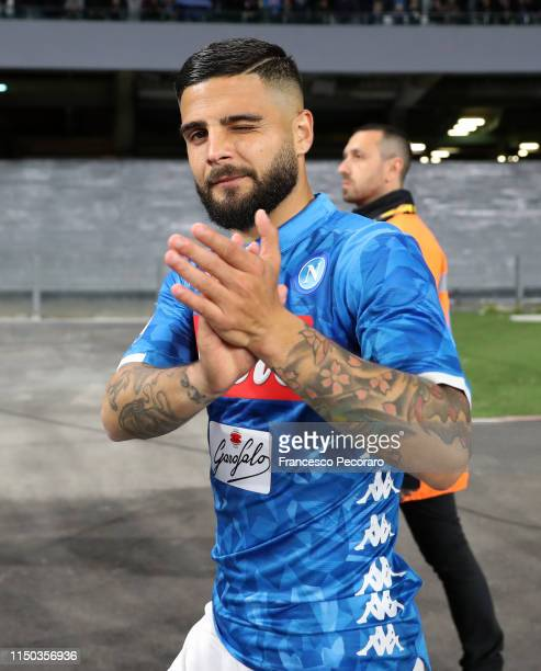 Lorenzo Insigne of SSC Napoli celebrates the victory after the Serie A match between SSC Napoli and FC Internazionale at Stadio San Paolo on May 19...