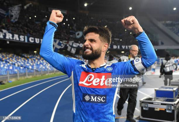 Lorenzo Insigne of SSC Napoli celebrates the victory after the Serie A match between SSC Napoli and Juventus at Stadio San Paolo on January 26 2020...
