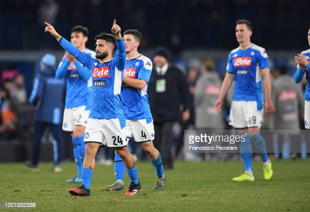 Lorenzo Insigne of SSC Napoli celebrates the victory with his teammates after the Coppa Italia match between SSC Napoli and SS Lazio at Stadio San...
