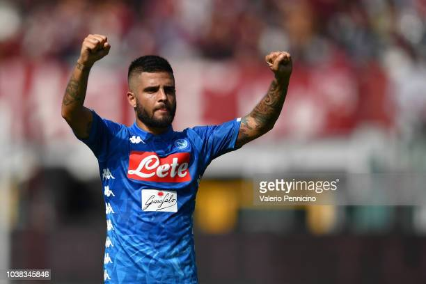 Lorenzo Insigne of SSC Napoli celebrates victory at the end of the Serie A match between Torino FC and SSC Napoli at Stadio Olimpico di Torino on...