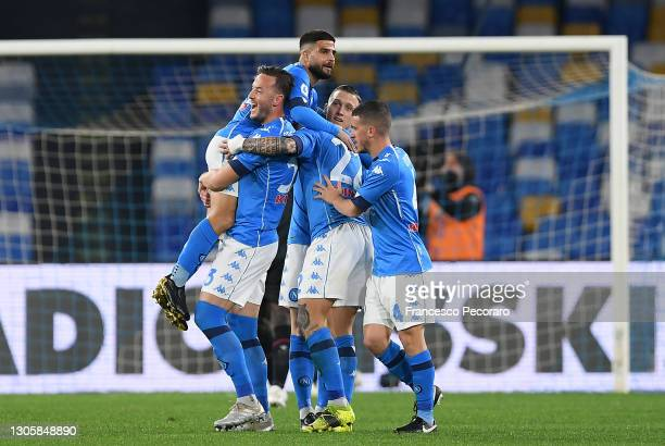 Lorenzo Insigne of SSC Napoli celebrates with Amir Rrahmani, Giovanni Di Lorenzo and Diego Demme after scoring their side's first goal during the...