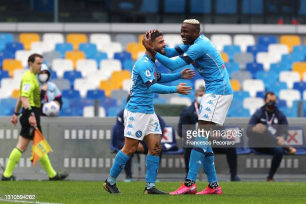 Lorenzo Insigne of SSC Napoli celebrates with team mate Victor Osimhen after scoring their side's first goal during the Serie A match between SSC...