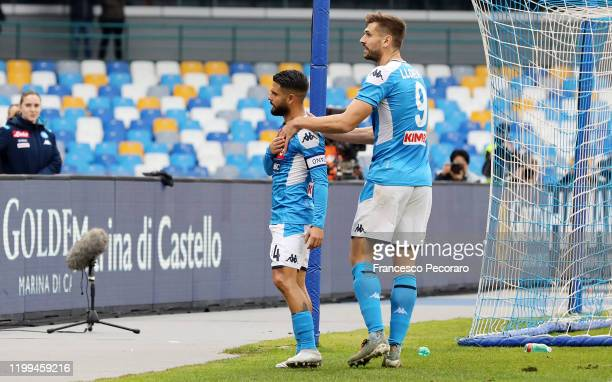 Lorenzo Insigne of SSC Napoli celebrates with teammate Fernando Llorente after scoring the 20 goal during the Coppa Italia match between SSC Napoli...