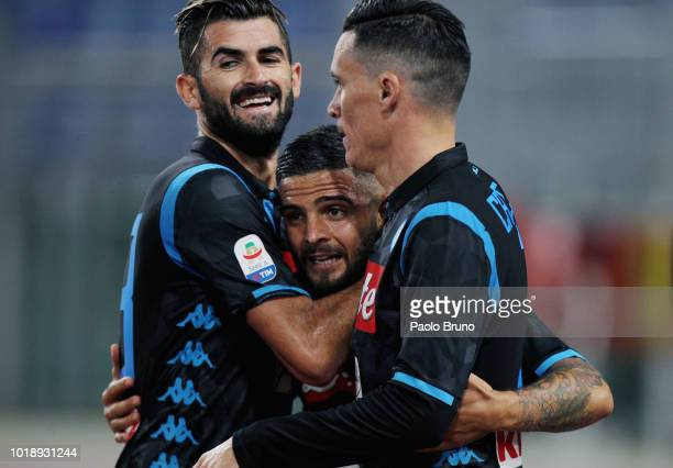 Lorenzo Insigne of SSC Napoli celebrates with teammates after scoring his team's second goal during the serie A match between SS Lazio and SSC Napoli...