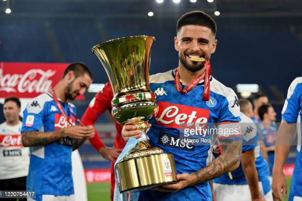 Lorenzo Insigne of SSC Napoli celebrating with the trophy the winning of the Coppa Italia after the Coppa Italia Final match between Juventus and SSC...
