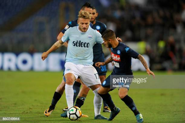 Lorenzo Insigne of SSC Napoli compete for the ball withCiro Immobile of SS Lazio during the Serie A match between SS Lazio and SSC Napoli at Stadio...