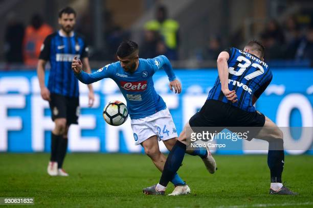 Lorenzo Insigne of SSC Napoli competes for the ball with Milan Skriniar of FC Internazionale during the Serie A football match between FC...