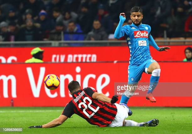 Lorenzo Insigne of SSC Napoli competes for the ball with of Mateo Musacchio AC Milan during the Serie A match between AC Milan and SSC Napoli at...