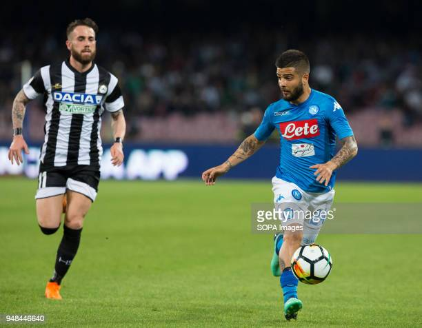 STADIUM NAPLES CAMPANIA ITALY Lorenzo Insigne of SSC Napoli competes with Zampano of Udinese during the Serie A football match between SSC Napoli and...