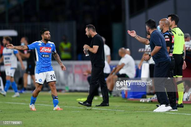 Lorenzo Insigne of SSC Napoli discusses with Gennaro Gattuso manager of SSC Napoli during the Serie A match between Napoli and Sassuolo at Stadio San...