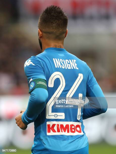 Lorenzo Insigne of SSC Napoli during the serie A match between AC Milan and SSC Napoli at Stadio Giuseppe Meazza on April 15 2018 in Milan Italy