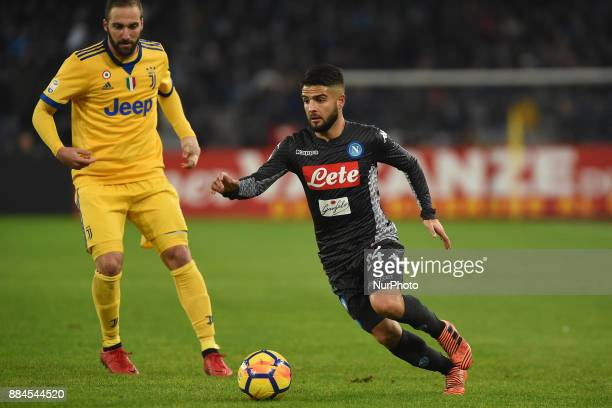 Lorenzo Insigne of SSC Napoli during the Serie A TIM match between SSC Napoli and Juventus FC at Stadio San Paolo Naples Italy on 1 December 2017