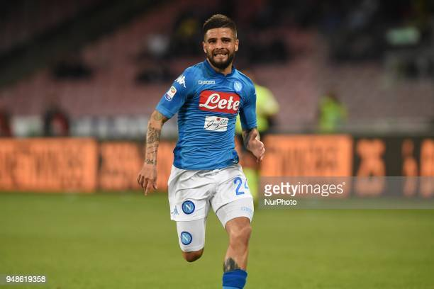Lorenzo Insigne of SSC Napoli during the Serie A TIM match between SSC Napoli and Udinese Calcio at Stadio San Paolo Naples Italy on 18 April 2018