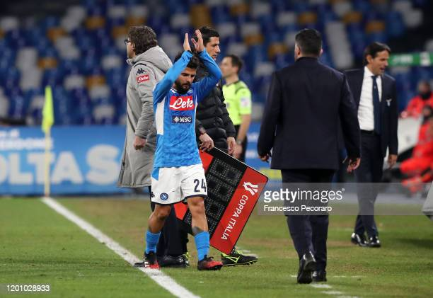 Lorenzo Insigne of SSC Napoli greets his supporters after his substitution during the Coppa Italia match between SSC Napoli and SS Lazio at Stadio...