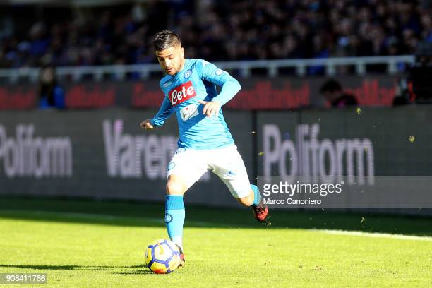 Lorenzo Insigne of Ssc Napoli in action during the Serie A football match between Atalanta Bergamasca Calcio and Ssc Napoli Ssc Napoli wins 10 over...