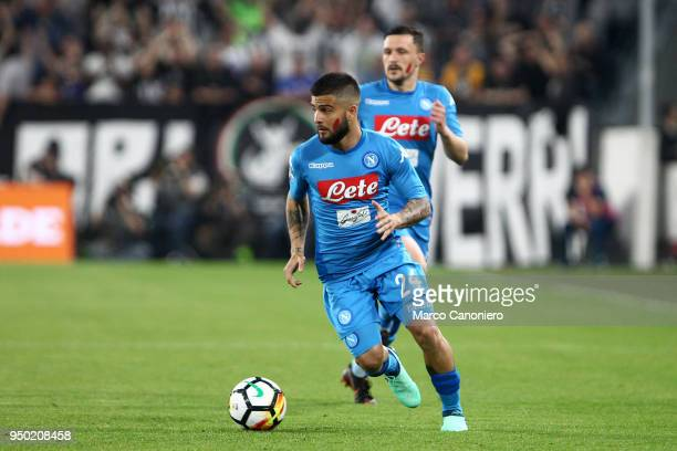 Lorenzo Insigne of Ssc Napoli in action during the Serie A football match between Juventus Fc and Ssc Napoli Ssc Napoli wins 10 over Juventus Fc