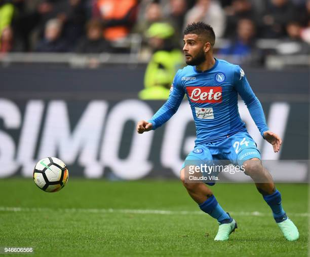 Lorenzo Insigne of SSC Napoli in action during the serie A match between AC Milan and SSC Napoli at Stadio Giuseppe Meazza on April 15 2018 in Milan...