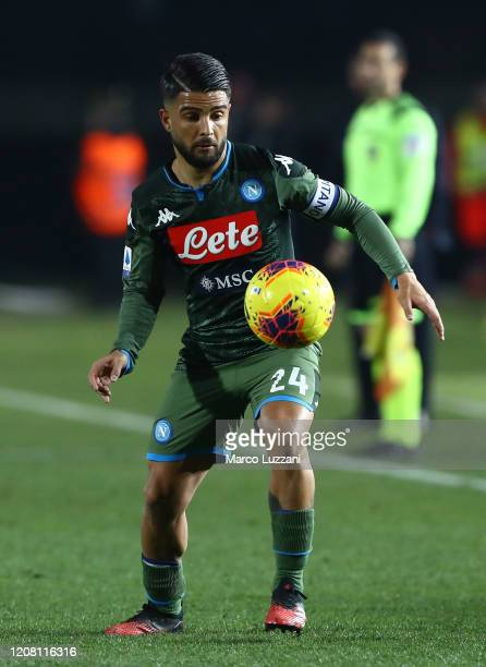 Lorenzo Insigne of SSC Napoli in action during the Serie A match between Brescia Calcio and SSC Napoli at Stadio Mario Rigamonti on February 21 2020...