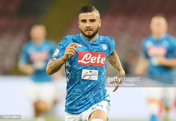 Lorenzo Insigne of SSC Napoli in action during the serie A match between SSC Napoli and AC Milan at Stadio San Paolo on August 25 2018 in Naples Italy