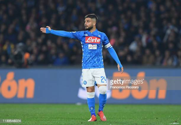 Lorenzo Insigne of SSC Napoli in action during the Serie A match between SSC Napoli and Juventus at Stadio San Paolo on March 3 2019 in Naples Italy