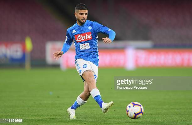 Lorenzo Insigne of SSC Napoli in action during the Serie A match between SSC Napoli and Genoa CFC at Stadio San Paolo on April 7 2019 in Naples Italy