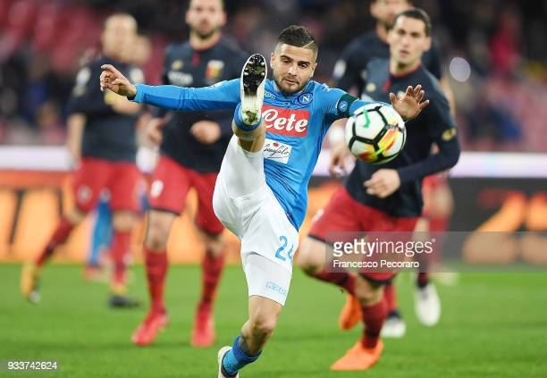 Lorenzo Insigne of SSC Napoli in action during the Serie A match between SSC Napoli v Genoa CFC at Stadio San Paolo on March 18 2018 in Naples Italy
