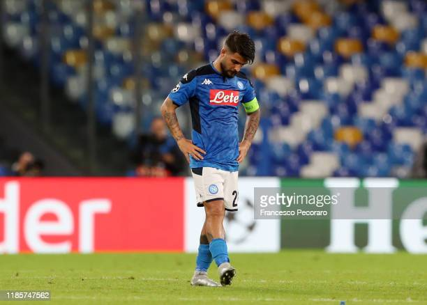 Lorenzo Insigne of SSC Napoli looks disappointed after the UEFA Champions League group E match between SSC Napoli and RB Salzburg at Stadio San Paolo...