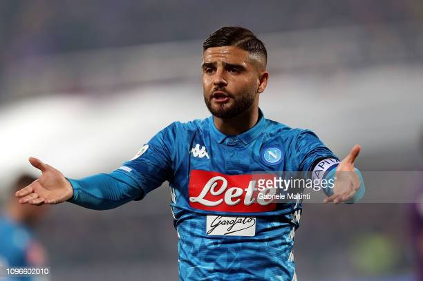 Lorenzo Insigne of SSC Napoli reacts during the Serie A match between ACF Fiorentina and SSC Napoli at Stadio Artemio Franchi on February 9 2019 in...