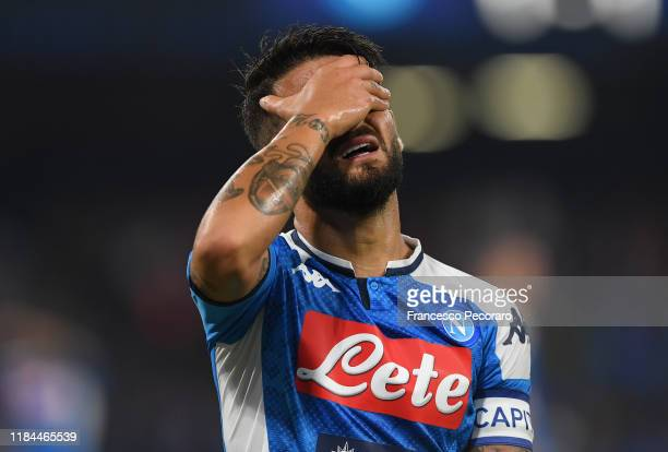 Lorenzo Insigne of SSC Napoli reacts during the Serie A match between SSC Napoli and Atalanta BC at Stadio San Paolo on October 30 2019 in Naples...