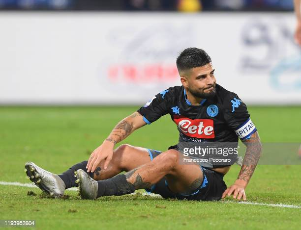 Lorenzo Insigne of SSC Napoli reacts during the Serie A match between SSC Napoli and Parma Calcio at Stadio San Paolo on December 14 2019 in Naples...