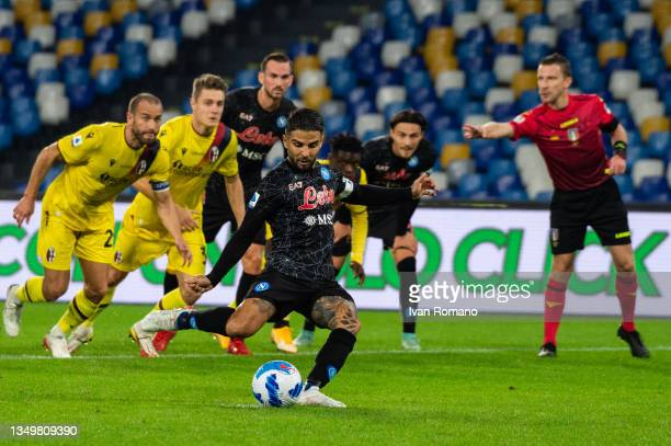 Lorenzo Insigne of SSC Napoli scores 2-0 goal from the penalty during the Serie A match between SSC Napoli and Bologna FC at Stadio Diego Armando...