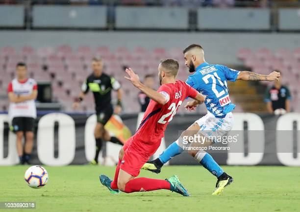 Lorenzo Insigne of SSC Napoli scores the 10 goal during the serie A match between SSC Napoli and ACF Fiorentina at Stadio San Paolo on September 15...