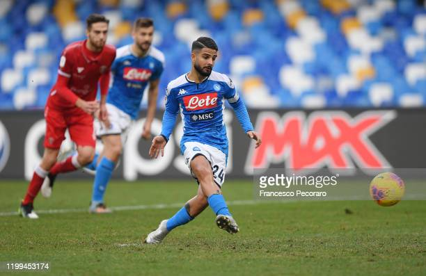 Lorenzo Insigne of SSC Napoli scores the 2-0 goal via penalty during the Coppa Italia match between SSC Napoli and Perugia on January 14, 2020 in...
