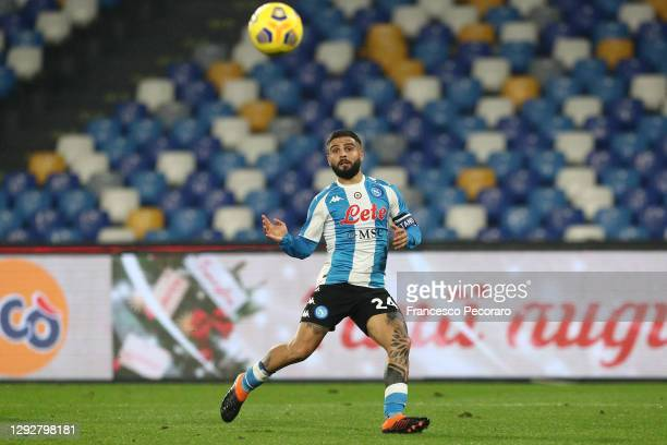 Lorenzo Insigne of SSC Napoli scores their sides first goal during the Serie A match between SSC Napoli and Torino FC at Stadio Diego Armando...