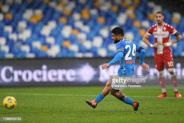 Lorenzo Insigne of S.S.C. Napoli scores their team's fifth goal from the penalty spot during the Serie A match between SSC Napoli and ACF Fiorentina...