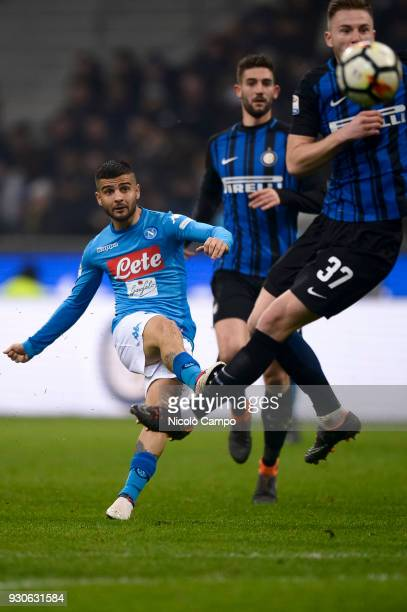 Lorenzo Insigne of SSC Napoli shoots during the Serie A football match between FC Internazionale and SSC Napoli The match ended in a 00 tie