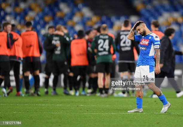 Lorenzo Insigne of SSC Napoli stands disappointed after the Serie A match between SSC Napoli and Bologna FC at Stadio San Paolo on December 01 2019...