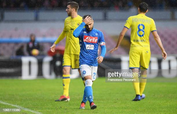 Lorenzo Insigne of SSC Napoli stands disappointed during the Serie A match between SSC Napoli and Chievo Verona at Stadio San Paolo on November 25...