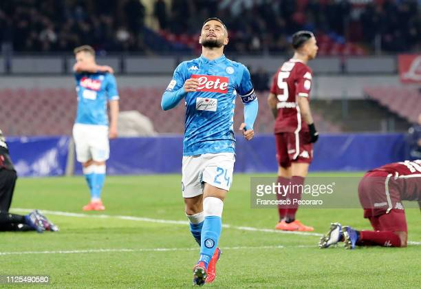 Lorenzo Insigne of SSC Napoli stands disappointed during the Serie A match between SSC Napoli and Torino FC at Stadio San Paolo on February 17 2019...