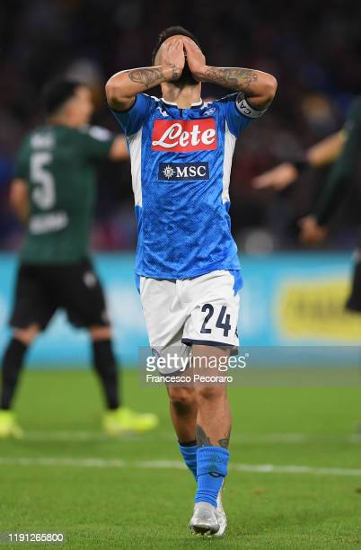 Lorenzo Insigne of SSC Napoli stands disappointed during the Serie A match between SSC Napoli and Bologna FC at Stadio San Paolo on December 01 2019...