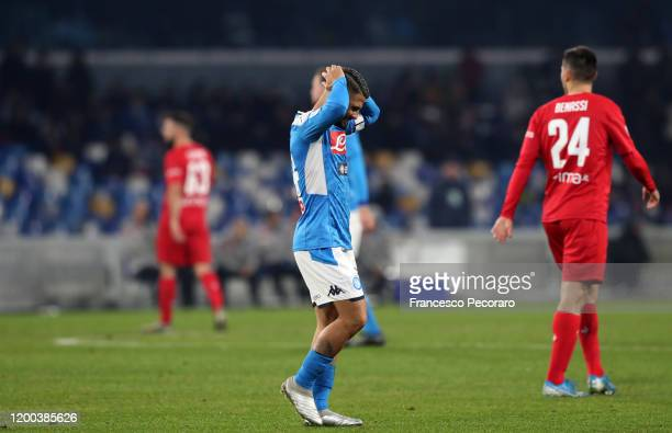 Lorenzo Insigne of SSC Napoli stands disappointed during the Serie A match between SSC Napoli and ACF Fiorentina at Stadio San Paolo on January 18...
